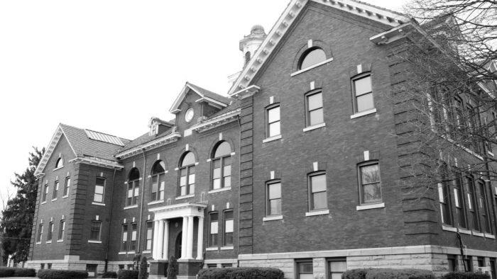 Facade of old school building in Perry, New York